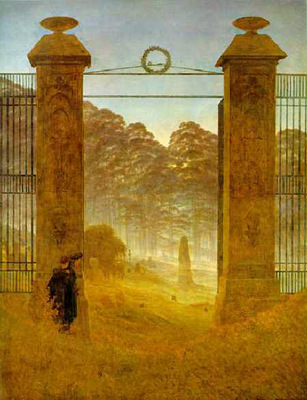 Cemetery at Dusk. Friedrich